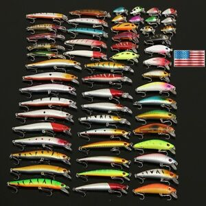 ZANLURE Lot 56 Mixed Minnow Fishing Lures Bass Baits Crankbaits Sharp Hooks Tack