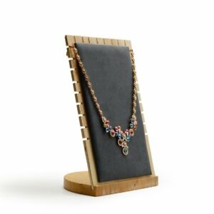 Oirlv Solid Wood Jewelry Display Stand Necklace Showcase Holder PendantLong