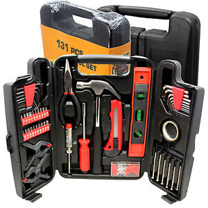 Large Tool Set Household Garage Mechanics 131 pc All Purpose Hand Tools Kit Case