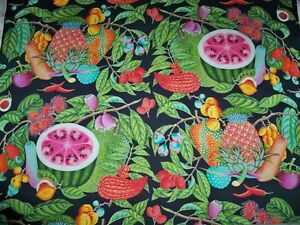 MANUEL CANOVAS JAMAICA TROPICAL FRUITS FABRIC 10 YARDS BLACK MULTI