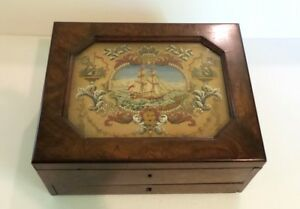 19th C. Rosewood Gaming Box Inset Needlework Lithographed Cards