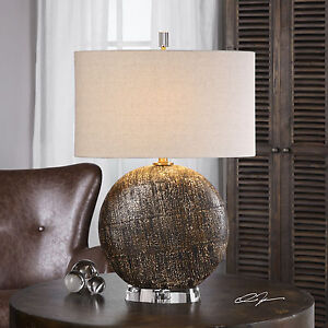 MEDITERRANEAN TEXTURED CERAMIC RUST BRONZE FINISH TABLE LAMP CRYSTAL BASE LIGHT