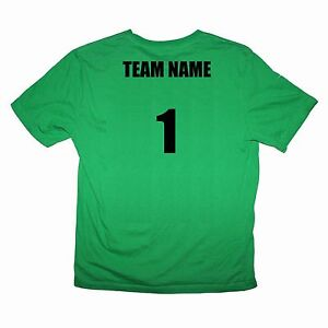 Sport Team Green Shirts Set of 6 Team Name and Number $20 ea - Sizes kids to XL