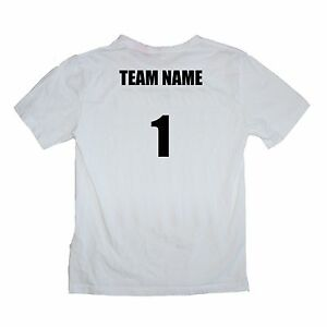 Sport Team White Shirts Set of 12 Team Name and Number $18 ea - Sizes kids to XL