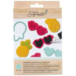 Sweet Sugarbelle 4 Piece Stamp and Cutter Set Tropical Cookie Supplies