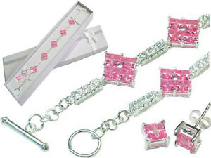 Sterling Silver Pink and White CZ Bracelet Earrings Set