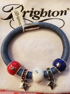 Brighton Woodstock Leather  Bracelet with Brighton Charms for 4th of July! NEW