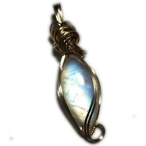 Rainbow Moonstone Pendant 14k Gold -Fill w necklace Wrapped Jewelry 241