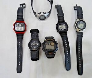 LOT OF 6 CASIO WATCHES - USED FOR PARTS REPAIRS OR REPLACEMENTS