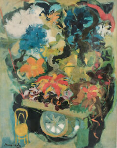 Emmanuel Mane Katz Color Lithograph Abstract Expressionist #x27;Flower Cart#x27; $380.00