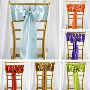 100 Satin CHAIR SASHES Ties Bows Wedding Party Catering Reception Decorations