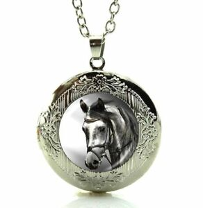 Beautiful Horse Necklace Locket Art Picture in a Gift Box $12.95