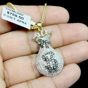 Black Diamond Money Bag Pendant Mens Yellow Gold Tone Round Dollar Sign Necklace