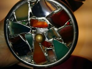 Vintage Brass Agate & Glass Double Wheel Kaleidoscope 1994 Janice Chesnik Signed