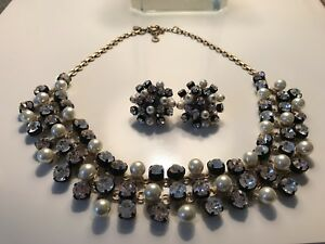 JCrew Crystal And Pearl Necklace And Earring Set
