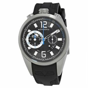 New Mens Bomberg NS44CHSS.0077.2 Swiss Made Chrono Black Rubber Strap Watch