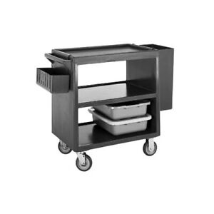 Cambro BC2354S191 3 Shelf Open Design Polyethylene Service Cart - Granite