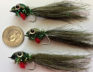 3 TOP WATER TADPOLE FLIES. FLY FISHING TROUT BASS. FROG POLLY WOG #6 HOOK