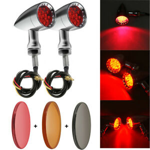 Chrome Motorcycle Bullet LED Turn Signal Brake Tail Red Light Fit Harley Chopper