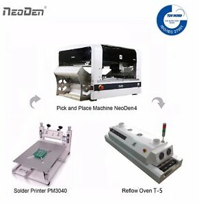 SMT Pick and Place Machine NeoDen4+Reflow Oven+Solder Printer+a Free Stencil BGA