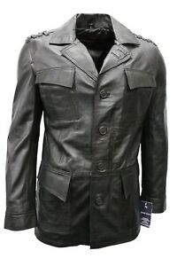 Men's Jungle Hunting Style Tailored Trench Black Real Nappa Leather Jacket Coat