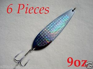 9oz Casting Crocodile Spoons ChromeSilver  6 Pieces Saltwater Fishing Lures