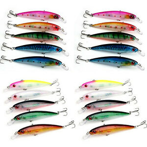 20pcs Lot Laser Muti-color Minnow Floating Fishing Lures Bass CrankBait Rattles