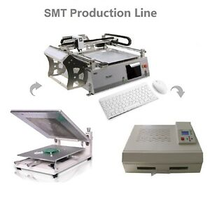 Cheap SMT Line:Automatic Pick and Place Machine NeoDen3V-Adv+Solder Printer+Oven