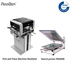 SMT Pick and Place Machine Vision System NeoDen4+Solder Printer+a Free Stencil