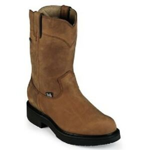 Justin Men's Gore-Tex Pull-On Waterproof Aged Bark Round Toe Work Boots 6604 NIB