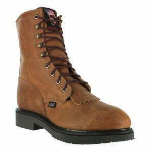 Justin Men's 8IN Aged Bark Brown Lace Up Round Steel Toe Work Boots 764 NIB