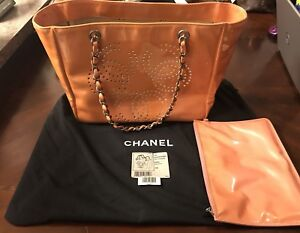 Chanel Petit Shopping Shopper Tote Rose Clair With Dust Bag Used Condition