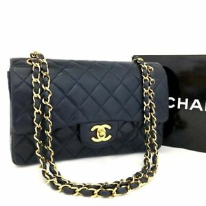 Vintage CHANEL Double Flap 23 Quilted CC Logo Lambskin Chain Shoulder Bage-787
