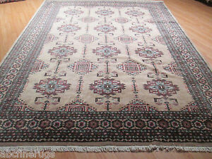 8x11 Bokhara Allover-Pattern Geometric design Handmade-knotted Wool Rug 580368