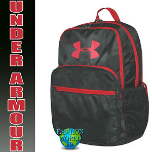 Under Armour HOF Youth Backpack School Book Bag Black CamoRed 1256655 008