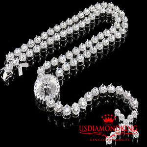 Mens Cluster Flower Rosary Necklace Lab Diamond Link Set Chain White Gold Finish