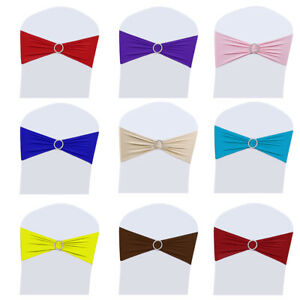 2550100200 Spandex Stretch Chair Cover Band Sashes Buckle Bow Wedding Party