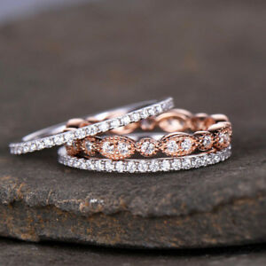 3pcs set Gorgeous Women Wedding Rings 925 Silver White Sapphire Size 6 10