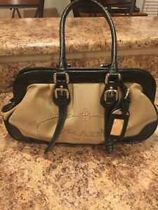 PRADA Milano Italy DAL1913 CanvasLeather Shoulder Handbag Purse (USED)