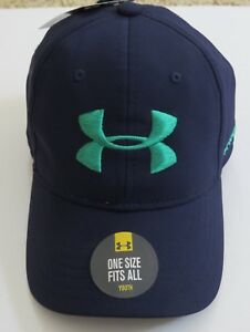 *Under Armour UA Golf Cap Hat Blue Youth Velcro Adjustable One Size Fits All
