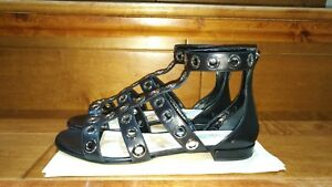 Prada black leather gladiator sandals Grommet 77.5 37.5-$790