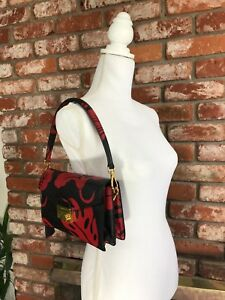 PRADA SAFFIANO HIBISCUS FLORAL BLACK AND RED LEATHER Handbag original! $1800