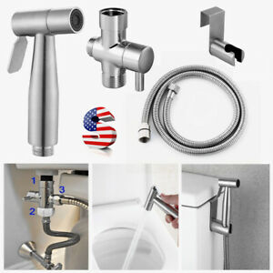 Premium Stainless Steel Bidet Sprayer Shattaf Bathroom Toilet T-Adapter Hose Kit