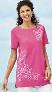 Tropical Jersey Knit Tunic shirt blouse top size XL pink winter rose floral new