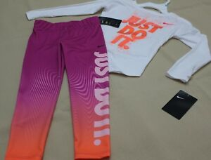 ~GIRL'S NIKE DRI-FIT LEGGINGS & COTTON T-SHIRT SIZE 5 SPARKLY NWT