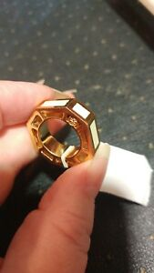 TORY BURCH Rylan Logo Octagon Gold Plated Cocktail Ring Size 5 NWT