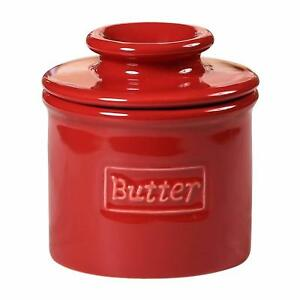Butter Bell Crock Cafe Retro Style Scratch Resistant Maraschino Red Durable