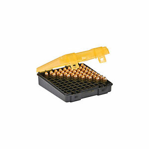 Plano 122400 Flip Top Handgun Ammo Case 100 Round 9mm.380 GrayAmber
