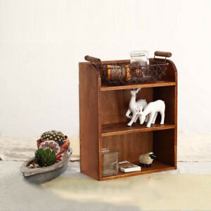 Wooden Wall Shelf Rack Display Cabinet Wall Hanging Storage Box -Brown