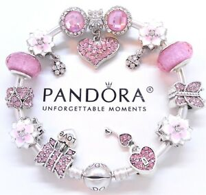 Authentic Pandora Silver Charm Bracelet Mom Mother's Day Love European Beads.NIB